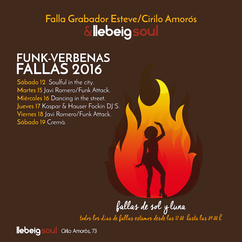 Estas Fallas estamos de fiesta en Llebeig Soul, Cirilo Amorós 73